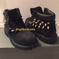 "Black or Wheat Timberlands ""Only Spikes"" All Sizes"