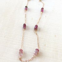 Stunning, Natural Watermelon Tourmaline Station Necklace with Pink to Green Tourmaline Rondelles in 14k Rose Gold Fill, Long Necklace, Gift