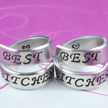 BEST BITCHES - Spiral Rings Set, Hand Stamped, Shiny Aluminum, Friendship, BFF Gift, Uppercase Script Font