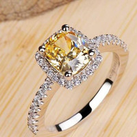 Square 2 Carat Imitation Diamonds Engagement Ring Princess Cut Halo Wedding Rings For Women AAA Grade Cubic Zirconia