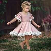 Kids Baby Girls clothes Lace Princess round neck short sleeve Geometry Toddler cotton casual newborn Party Dresses one pieces