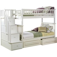Columbia Staircase Bunk Bed Twin Over Twin 2 Raised Panel Bed Drawers White Finish