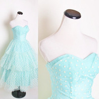 Aqua strapless 1950s Bombshell Wedding Dress with by aiseirigh
