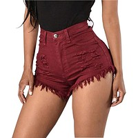 Saiqigui Summer women Shorts Fashion high waist Elasticity feminine Denim Shorts Solid sexy plus size lady Shorts
