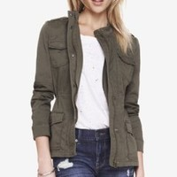 STRETCH COTTON MILITARY JACKET from EXPRESS