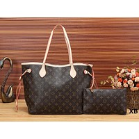 Louis Vuitton LV Women Leather Handbag Shoulder Bag Crossbody Purse Wallet Set Two Piece