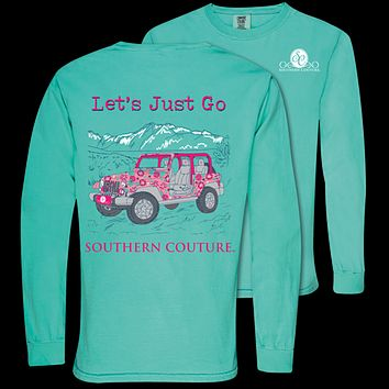 Southern Couture Lets Just Go Jeep Comfort Colors Long Sleeve T-Shirt