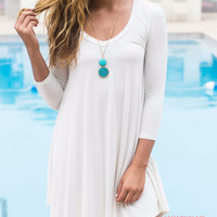 Never Let Go Ivory V-Neck Quarter Sleeve Dress