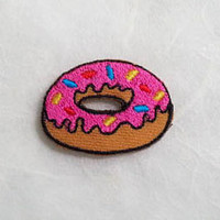 Pink Strawberry Doughnut Iron on Patch - Donut Applique Embroidered Iron on Patch Size 3.4x2.5 cm
