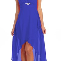 Chiffon High Low Royal Blue Bridesmaid Dress Modest Wide Strap