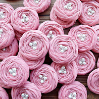 ROSE GARDEN Rose Pink Fabric Roses Handmade Appliques Embellishments(30 pcs) Ready for Shipping
