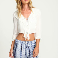 WHITE RUFFLED FRONT LACE UP CROP TOP
