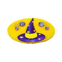 Felt Hairclip - Witches Hat - Yellow and Purple - Hair Accessory Barrette