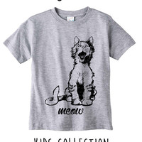 Meow Kitty Heather Grey / White Toddler Kids T Shirt Clothes Gift