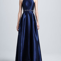 Racer Front Beaded Waist Gown