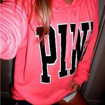 "Victoria's Secret ""Pink""Print Pattern Fashion Women Loose Long Sleeve Hoodie Top Sweater Pink I"