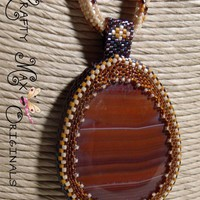 Armona a Lady In Waiting Brown (Red Agate) Beadwoven Necklace