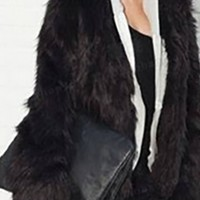 Black Faux Fur Long Sleeve Open Front Cropped Coat