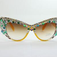 Handcrafts Cats Crystal Rhinestone Sunglasses [6047693505]