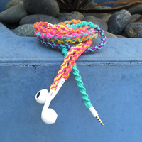 Flower Power Remix MyBudsBuzz Wrapped Headphones Tangle Free Earbuds Your Choice of Headphones