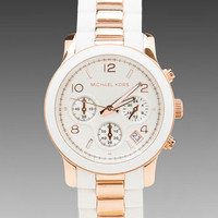 Michael Kors Runway Chronograph Watch in White/Rose Gold from REVOLVEclothing.com
