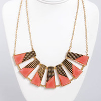 Plot the Points Gold and Coral Statement Necklace