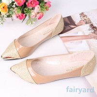 Women Glitter Sparkle Pointed Toe Loafers Low Heel Comfort Flats Womens Shoes