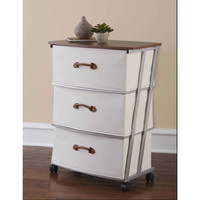Walmart: Mainstays 3-Drawer Wide Fabric Cart, Ivory