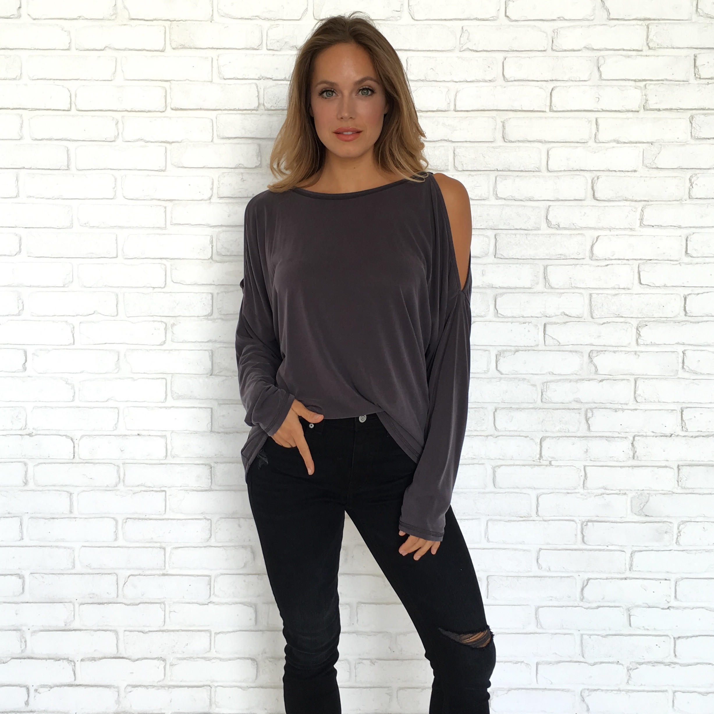 Image of Back In A Big Way Charcoal Grey Top