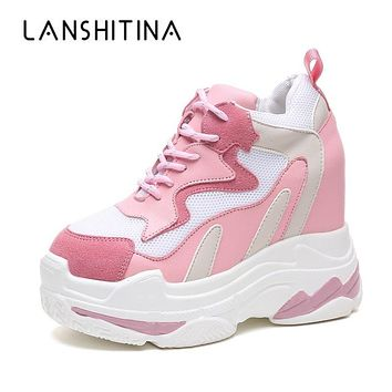 2018 Women Sneakers Mesh Casual Platform Trainers White Shoes 11CM Heels Autumn Wedges Breathable Woman Height Increasing Shoes