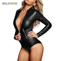 Sexy Women Faux Leather Wet Look Bodysuit Catsuit Leotard Club Jumpsuit Costume Black Bodycon Punk Cosplay Clubwear PVC Teddy