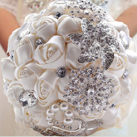 Ivory Pink Hand made Decorative Artificial Rhinestone Bride Bridesmaid With Crystal Wedding Bouquet Flower