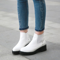 Studded Ankle Boots Square Heel Motorcycle Boots 7956