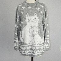 Vintage 90s Cat and Kitten Sweater Gray & White Hearts Paws Cuteness Overload!