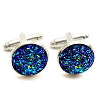 Crushed Blue Sparkle Cuff Links / blue cufflinks / men's suit accessories / wedding cuff links / Father's day gift / silver cuff links