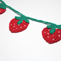 Strawberry Garland, Crochet Bunting, Summer Party Decoration, Wall Hanging Handmade Home Decor, Kitchen Food Decor