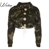 Trendy Weekeep Long Sleeve Woman Jacket 2017 Autumn Women's Camouflage Lace Up Jackets Short Vogue Zipper Cotton Outerwear Tops AT_94_13