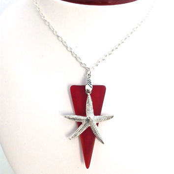 Sea Glass Necklace, Red Pendant, Beach Glass, Starfish, Sterling Silver, Beachy, Beach Lover Gift