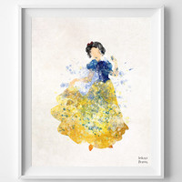 Snow White art, Disney, Watercolor Painting Print , Princess Poster, Art, Illustration, Watercolour, Wall, Nursery Room, Home Decor [NO 344]