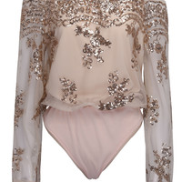 Pink Off Shoulder Sequins Sheer Flared Sleeve Bodysuit