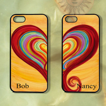 Colorful Heart Couple Case-iPhone 5, iphone 4s, iphone 4 case, Samsung GS3-Silicone Rubber or Hard Plastic Case, Phone cover