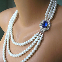 Sapphire Necklace, Pearl Necklace, Mother of the Bride, Great Gatsby, Statement Necklace, Wedding Necklace, Blue Bridal Jewelry, Art Deco