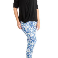Women's Plus Size Blue Flake Print Vintage Leggings