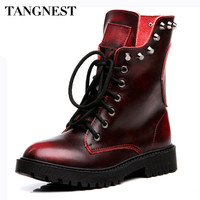 Tangnest Women Boots Genuine Leather Women's Ankle Boot Fashion Rivets Lace-up Platform Shoes Classic Martin Boots Woman XWX4082