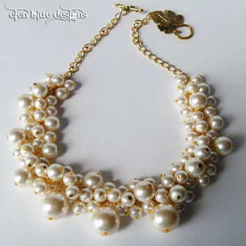 Pearl Cluster Necklace - Cluster of ivory pearls on a gold tone chain bridal, bridesmaids, chunky beaded cluster necklace - VANILLA -
