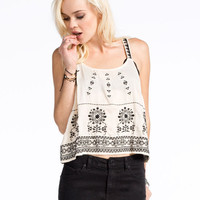 Patrons Of Peace Embroidered Womens Tank Cream  In Sizes
