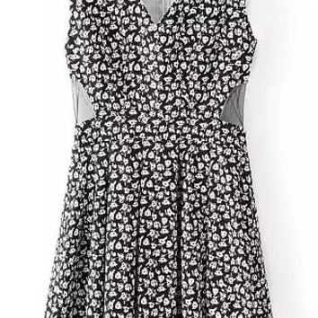 Black Floral Cut Out V-Neck Pleated Dress