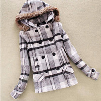 White Plaid Double Buttoned  Faux Hood Wool Coat
