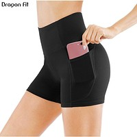High Waist Athletic Yoga Shorts For Women | Pocket Sport Cycling Shorts Compression Workout Fitness Gym Running Shorts