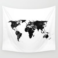 Black watercolor world map Wall Tapestry by Hedehede